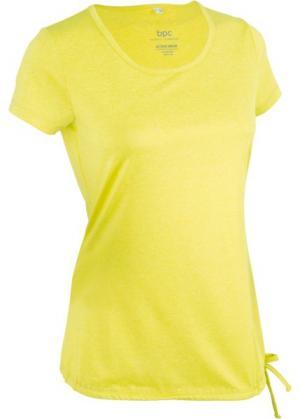 Спортивная футболка с кулиской и коротким рукавом (меланж зеленого лайма) bonprix. Цвет: меланж зеленого лайма