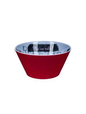 Маленький салатник  d14,5 x 7см, Игра слов Orval. Цвет: серый, красный