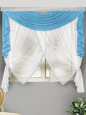 Комплект штор для кухни ZLATA KORUNKA. Цвет: голубой, белый