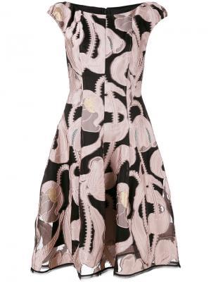 Приталенное платье Longley Talbot Runhof. Цвет: розовый и фиолетовый