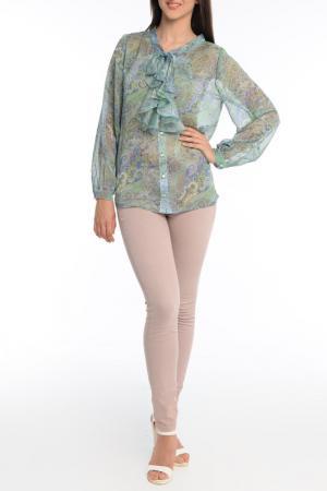 Блуза-рубашка MoNaMod. Цвет: зеленый