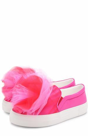 Текстильные слипоны с оборками Joshua Sanders. Цвет: розовый