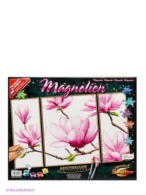 Раскраска Триптих Магнолия Schipper. Цвет: розовый, белый, зеленый, коричневый