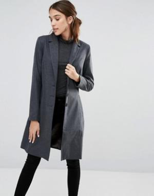 Closet London Пальто с воротником и застежкой на 3 пуговицы. Цвет: серый