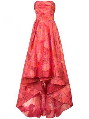 Жаккардовое платье с цветочным узором Marchesa Notte. Цвет: красный