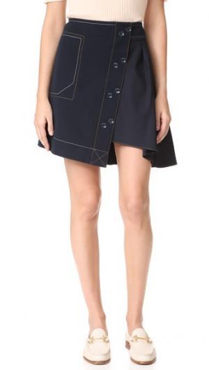 Комбинированная юбка-трапеция из ткани в рубчик Derek Lam 10 Crosby. Цвет: полночный