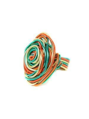 Кольцо из Перу Escudero Indira. Цвет: бирюзовый, коричневый, персиковый