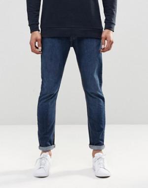 LDN DNM Стретчевые джинсы скинни с эффектом поношенности. Цвет: синий
