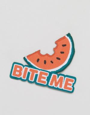 OHH DEER Нашивка с надписью Bite Me. Цвет: мульти