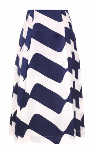 Шелковая юбка в складку с принтом Victoria Beckham. Цвет: синий