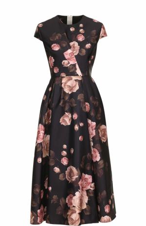Приталенное платье-миди с принтом Rochas. Цвет: черный