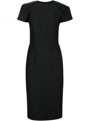Приталенное платье с короткими рукавами Martin Grant. Цвет: чёрный