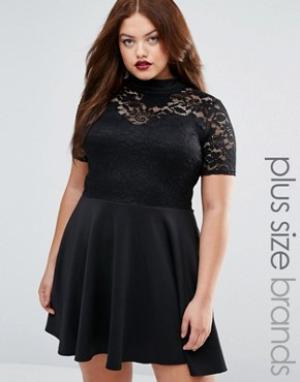 Praslin Платье с кружевным верхом Plus. Цвет: черный