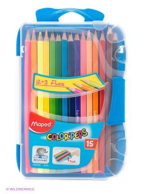 Набор цветных карандашей, 15 цв. Maped. Цвет: синий