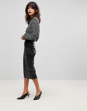 Muubaa Длинная кожаная юбка-карандаш с разрезом. Цвет: черный
