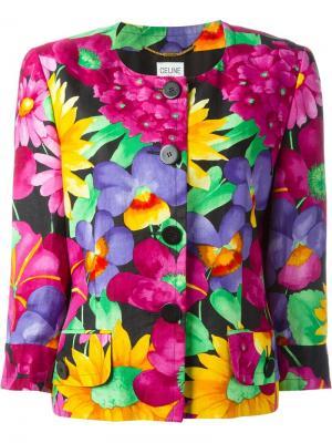 Пиджак с цветочным принтом Céline Vintage. Цвет: многоцветный