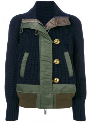 Вязаная куртка Sacai. Цвет: синий