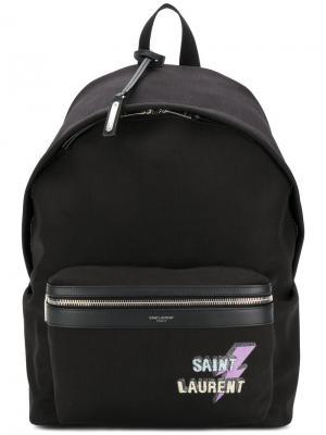 Рюкзак с принтом логотипа Saint Laurent. Цвет: чёрный