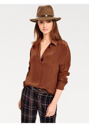 Шелковая блузка B.C. BEST CONNECTIONS by Heine. Цвет: оранжево-красный, серо-коричневый, темно-синий, черный