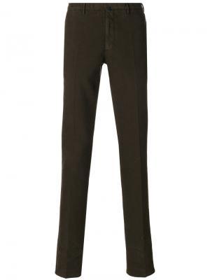 Классические брюки-чинос Incotex. Цвет: коричневый