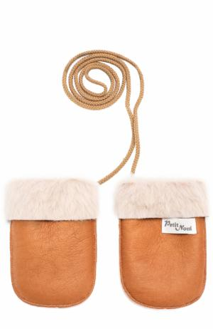 Кожаные варежки Petit Nord. Цвет: светло-коричневый