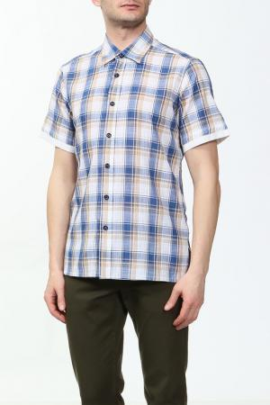 Рубашка Karflorens. Цвет: синий, желтый клетка