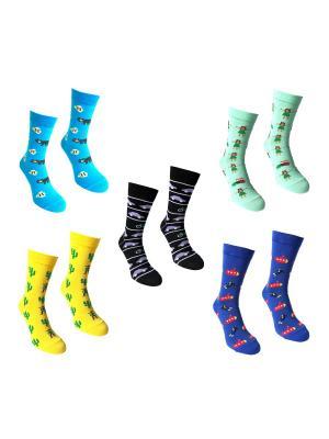 Носки, 5 пар Big Bang Socks. Цвет: синий, желтый, морская волна