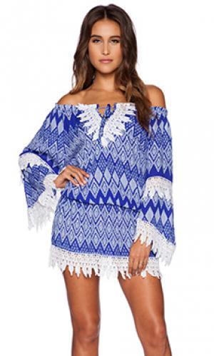 Платье с вязаным кружевом T-Bags LosAngeles. Цвет: синий