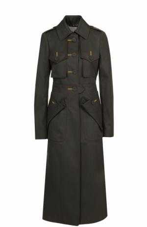 Приталенное пальто с контрастной прострочкой и накладными карманами Marco de Vincenzo. Цвет: хаки