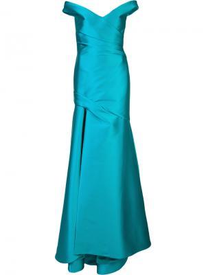 Вечернее платье с открытыми плечами Monique Lhuillier. Цвет: синий