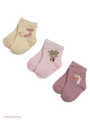 Носки для новорожденных PERA MAYA. Цвет: фиолетовый, кремовый, розовый