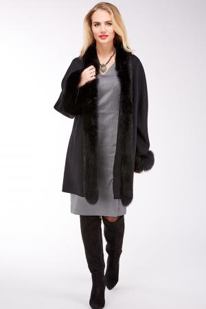 Шерстяное женское пальто с отделкой из песца Sprung Freres. Цвет: черный