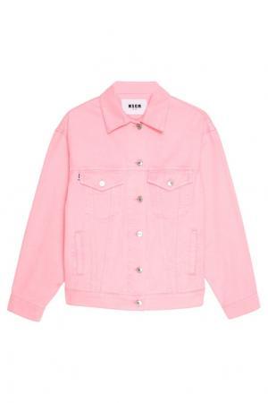 Розовая джинсовая куртка MSGM. Цвет: розовый