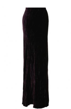 Однотонная бархатная юбка-макси Ann Demeulemeester. Цвет: фиолетовый
