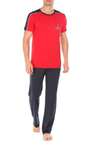 Пижама с брюками двойка Relax Mode. Цвет: синий, красный