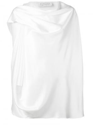 Блузка с драпированной горловиной Gianluca Capannolo. Цвет: белый