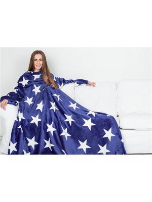 Плед с рукавами Sleepy Luxury Blue White Stars. Цвет: темно-синий