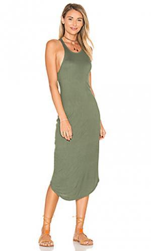 Платье в рубчик kirra Issa de mar de'. Цвет: серовато-зеленый
