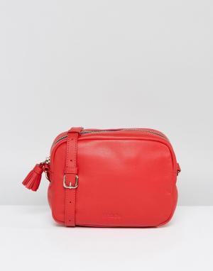 Made Кожаная сумка через плечо с кисточкой. Цвет: красный
