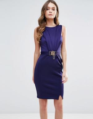 Lipsy Платье-футляр с пряжкой. Цвет: темно-синий