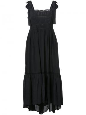 Асимметричное платье с узлами на лямках Ulla Johnson. Цвет: чёрный