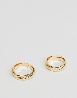 DesignB London Золотистое кольцо в несколько оборотов. Цвет: золотой