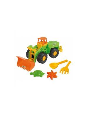 Экскаватор с набором для песка 5 эл. ТИГРЕС. Цвет: желтый, зеленый, оранжевый