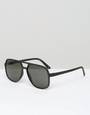 Le Specs Черные солнцезащитные очки-авиаторы. Цвет: черный