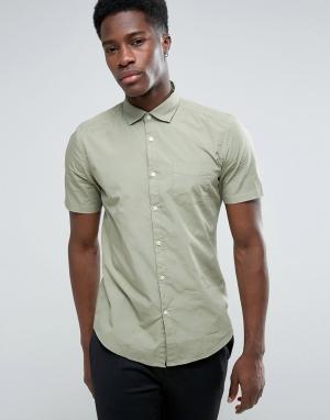 Esprit Хлопковая рубашка с коротким рукавом. Цвет: зеленый