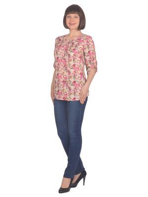 Блузка Томилочка Мода ТМ. Цвет: лиловый, бежевый, фиолетовый