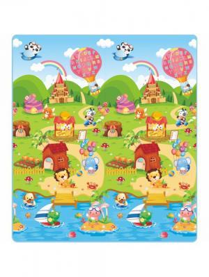 Детский развивающий коврик Ферма односторонний 200х180х0,5 Mambobaby. Цвет: голубой