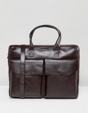 Royal RepubliQ Кожаная сумка для ноутбука с двумя карманами Courier. Цвет: коричневый