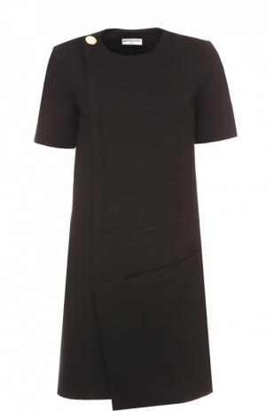 Мини-платье асимметричного кроя с коротким рукавом Balenciaga. Цвет: черный