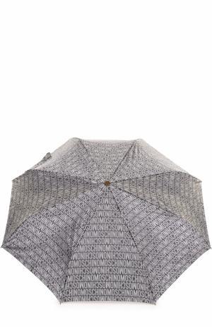 Складной зонт Moschino. Цвет: светло-серый